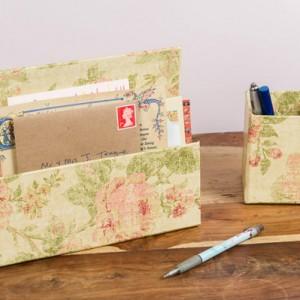 Letter Rack & Pen Pot - Antique Gold