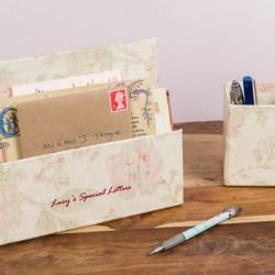 Letter Rack & Pen Pot - Antique Pink