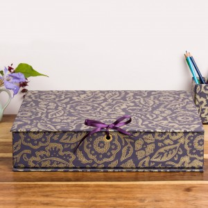 Box File - Floral Damask Purple and Gold