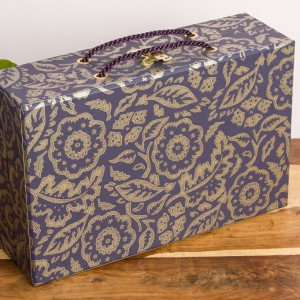 Handbag Box - Floral Damask Purple and Gold