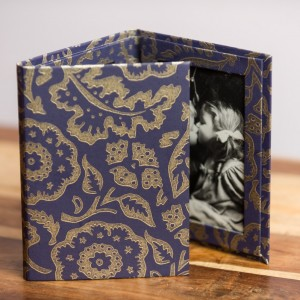 Photo Wallet Large - Floral Damask Purple and Gold