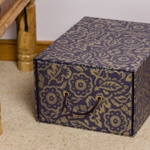 Storage Drawer - Floral Damask Purple and Gold