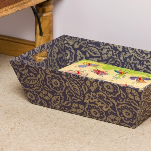 Laundry Trug - Floral Damask Purple and Gold