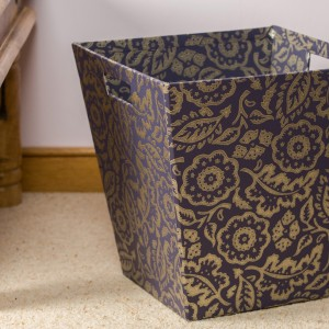 Waste Paper Bin - Floral Damask Purple and Gold