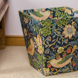 Waste Paper Bin - Strawberry Thief Navy